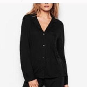 Victoria's Secret Sleepover Knit PJ Top Black